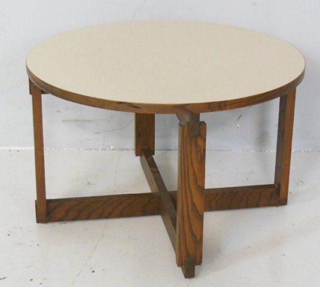 Moderne round formica top wood table ca. 1960's