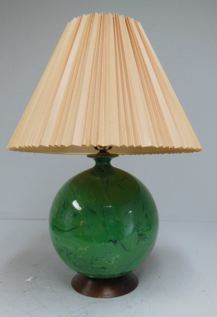 Modern green glass reverse painted lamp