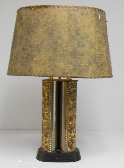 Modern double cylinder metal lamp with shade.