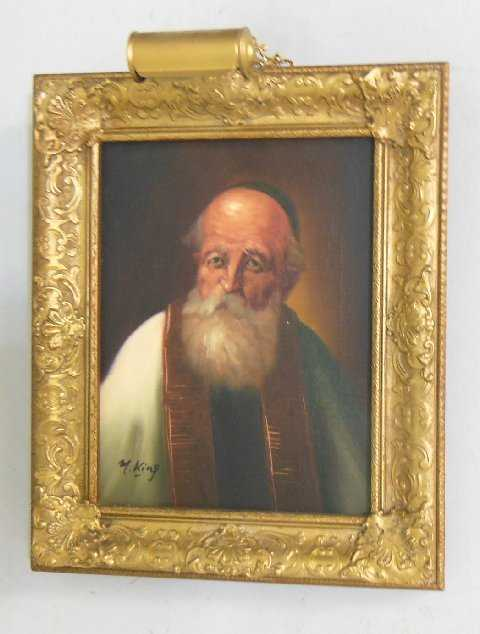 Signed M King Oil Painting Of Quot Rabbi Quot
