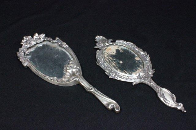 2 antique art nouveau hand mirrors