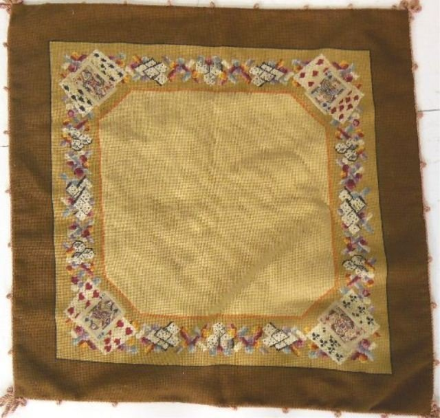 Unusual tapestry/needlepoint table cover