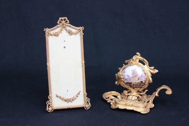 Bronze frame & bronze desk piece with cameo shell
