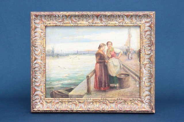 Antique oil painting signed F. Kucera dated 1907