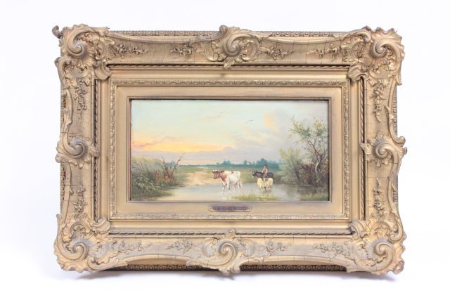 """H.B. Northcote 19thc. oil painting """"Cow in Water"""""""