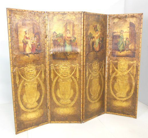 19th c. 4 panel hand painted leather screen