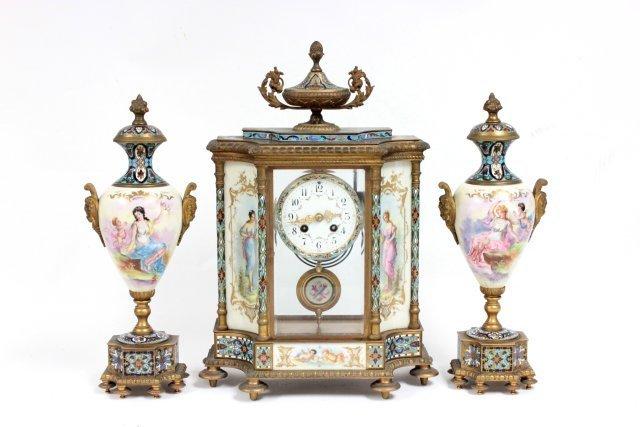 19th c. French enameled crystal & bronze clock set