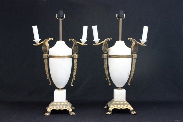 Pair Contemporary marble and brass lamps