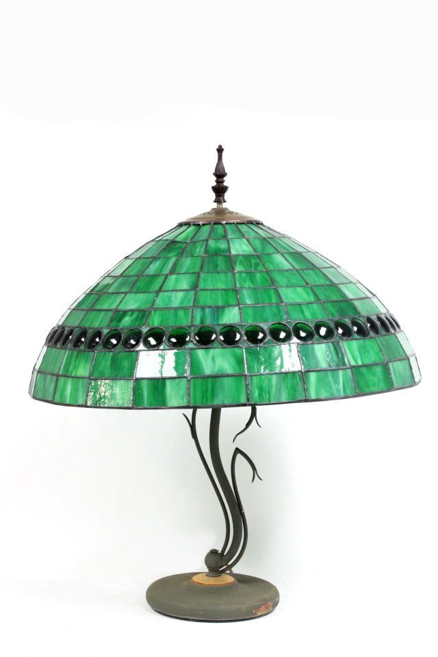 Tiffany style lamp with green shade