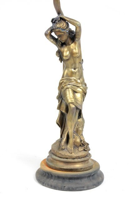 Bronze figure of a woman mounted as a lamp