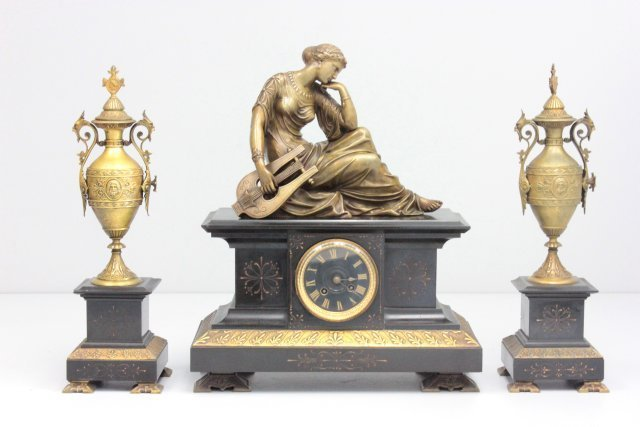 Bronze and marble 3 piece figural clock set