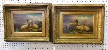 19thc. Pair of gilt framed oil on canvas paintings