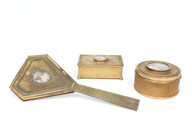3 piece art deco gilt metal vanity set by Apollo