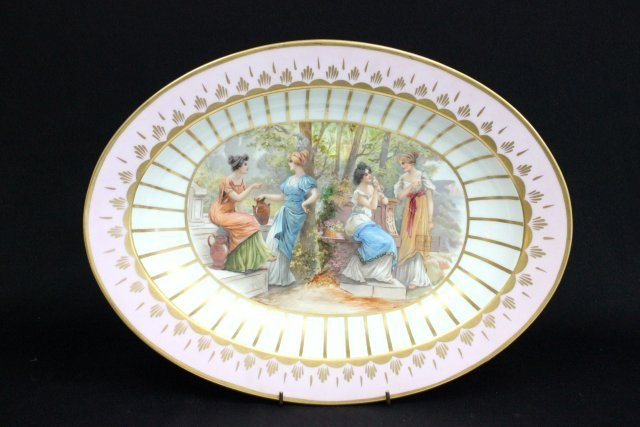 "Porcelain platter depicting ""Classical Women"""