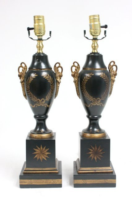 Pair Tole style lamps made of wood
