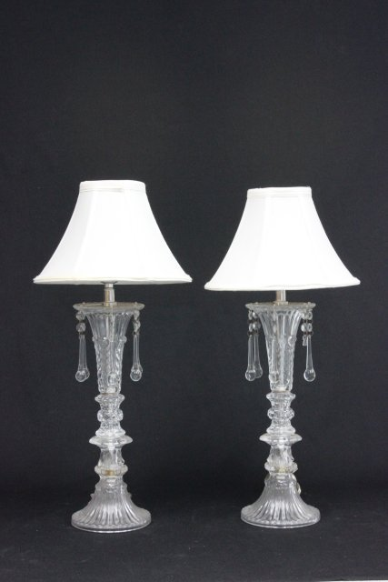 Pair glass lamps with crystal drops & silk shades