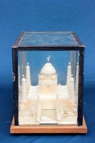 "Carved miniature wooden ""Taj Mahal"" in case"