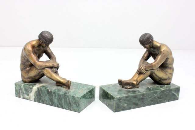 """Pair figural """"Nude Man"""" bookends"""