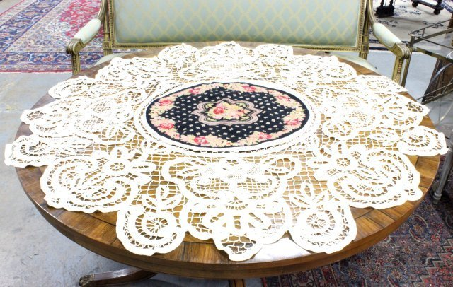 Unusual needlepoint & lace round tablecloth