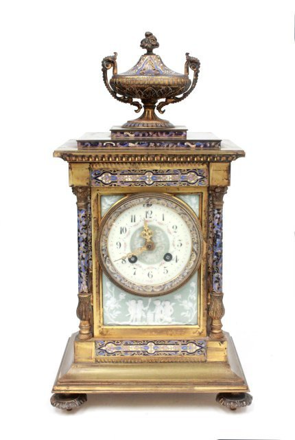 19th c. French enamel & bronze clock