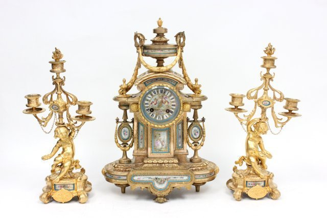19th c. French porcelain & dore bronze clock set