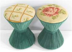 Pair hour glass needlepoint top foot stools