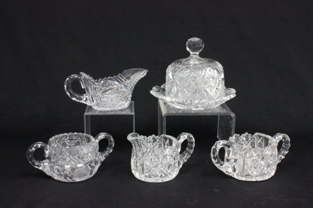Group lot of 5 cut crystal glass smalls