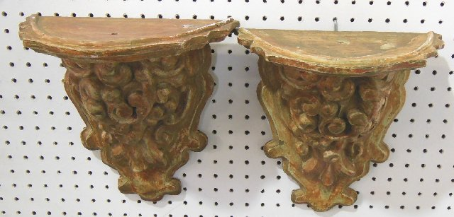 Pair carved rococo wall brackets ca. 19th c.