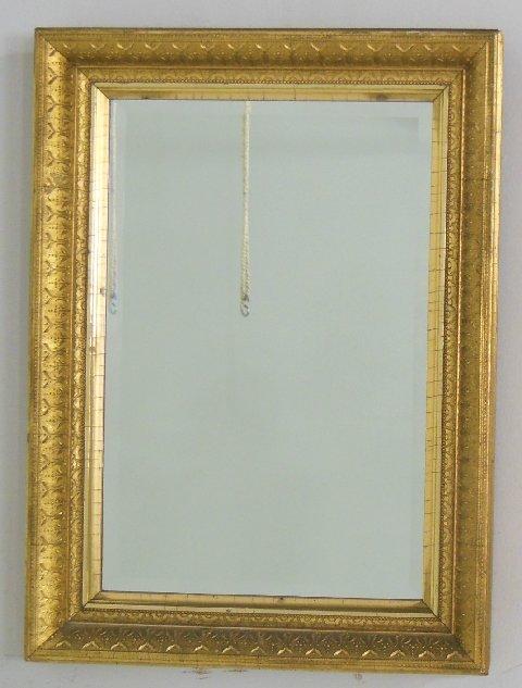 19th gilt framed beveled mirror