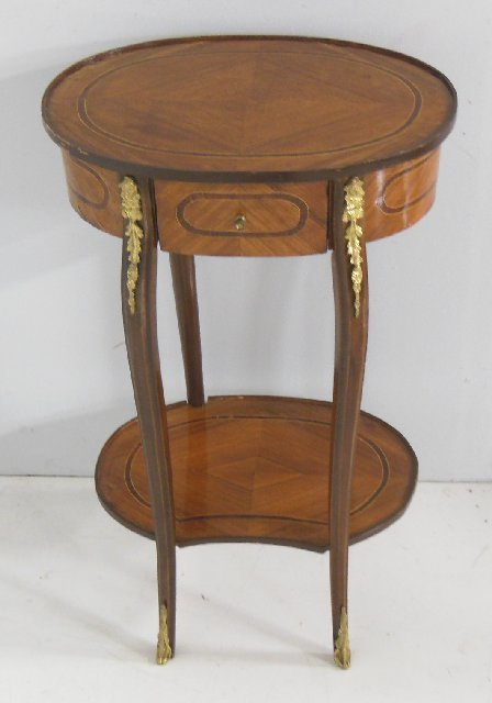 Reproduction oval French inlaid table