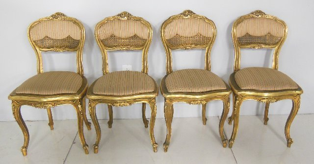 4 reproduction giltwood & cane boudoir chairs