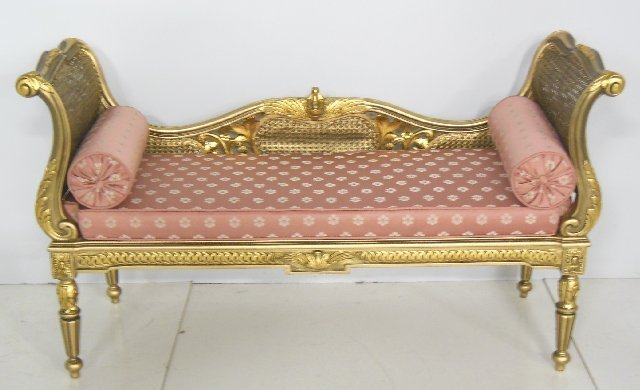 Giltwood reproduction Louis XVI style bench