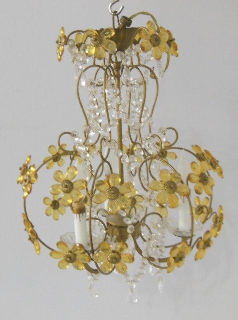 Brass & crystal floral 3 light chandelier