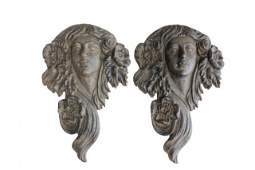 Pair metal art nouveau plaques of Women