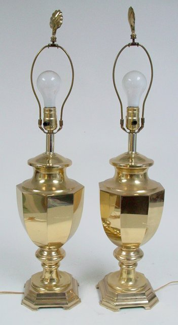 Pair brass urns mounted as lamps