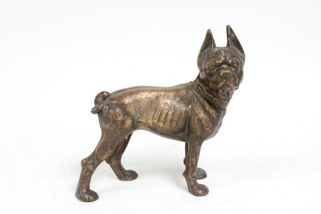 """Antique bronze or brass """"Bull Dog"""" door stop"""