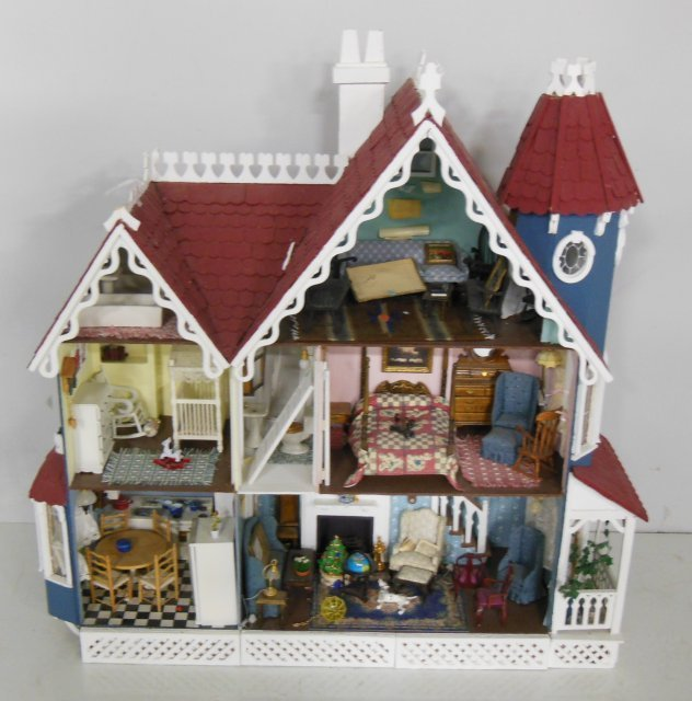 Wooden painted doll house with accessories