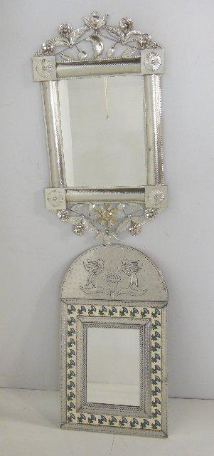 2 decorative aluminum mirrors