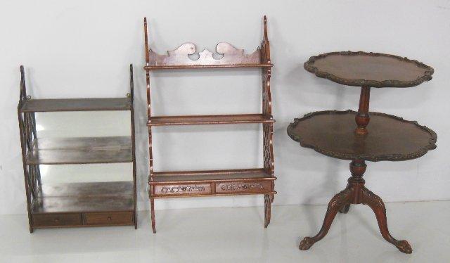 Mahogany 2 tier table & 2 hanging wall shelves