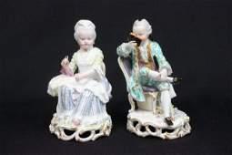 19th c Pair Meissen porcelain figures