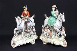 19th c Pair Meissen porcelain hunting figures