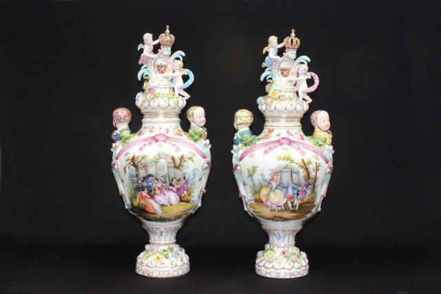 Pair 19th c. Carl Thieme porcelain figural vases