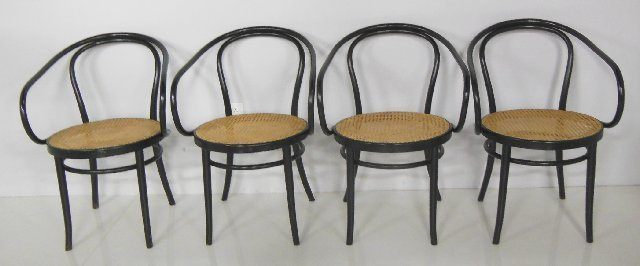 Set of 4 Cane & bentwood arm chairs