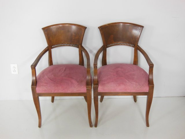 """Pair arm chairs with pink """"suede"""" seats"""
