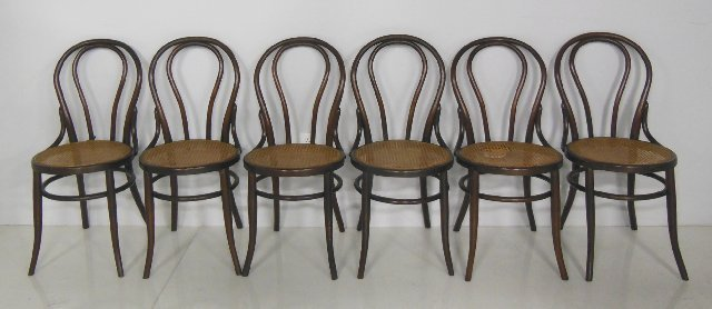 6 oak bentwood chairs ca. 1900