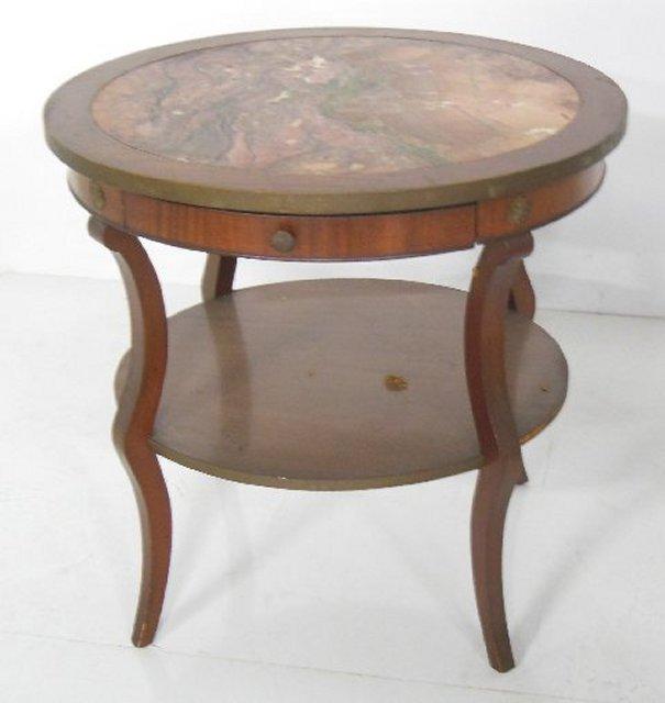 Marble top mahogany table ca. 1930