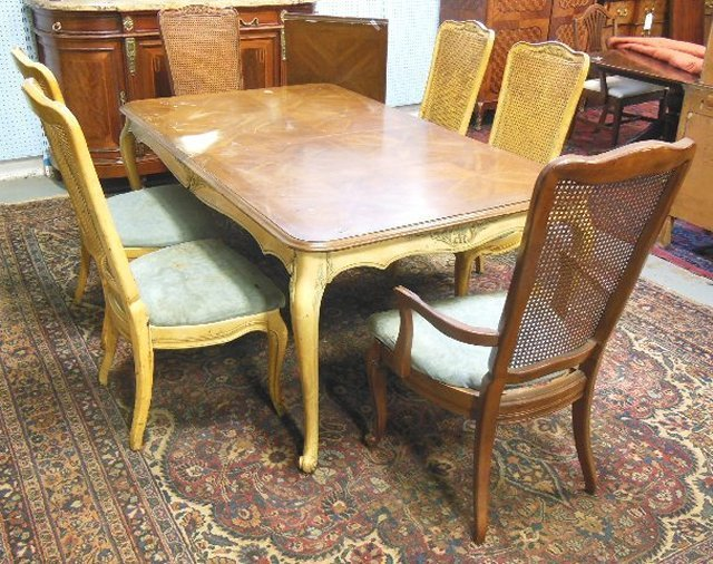 Parquetry top dining room table with 6 chairs