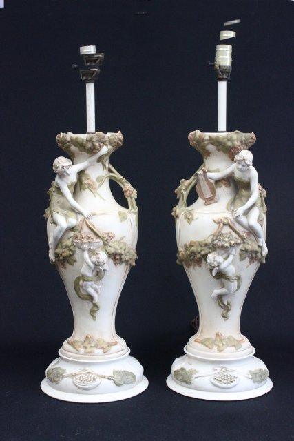 Pair Royal Dux figural lamps