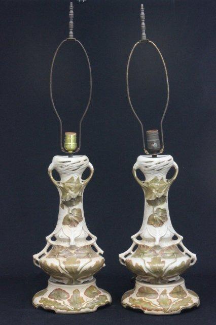 """Pair Royal Dux """"Floral"""" design lamps"""