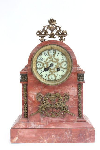 Tiffany & Co. rouge marble bronze mantle clock